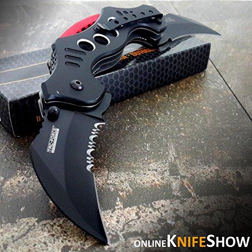 "10.25"" DUAL BLADE KARAMBIT SPRING ASSISTED TACTICAL FOLDING KNIFE Open Pocket (Original Version)"