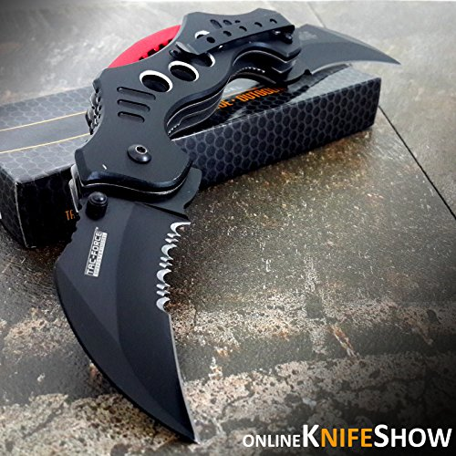 "10.25"" DUAL BLADE KARAMBIT SPRING ASSISTED TACTICAL FOLDING KNIFE Open Pocket (Original Version)"