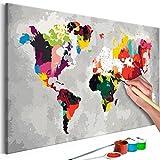 murando - Malen nach Zahlen Weltkarte 60x40 cm Malset mit Holzrahmen auf Leinwand für Erwachsene Kinder Gemälde Handgemalt Kit DIY Geschenk Dekoration n-A-0267-d-a