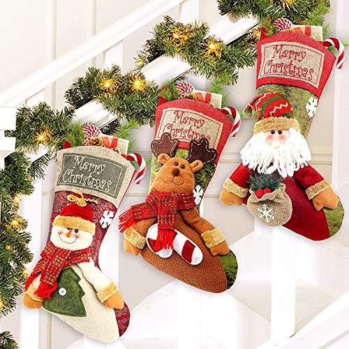 Calcetines de Navidad 3 Piezas, 46 x23cm Medias de Navidad Bolsa de...