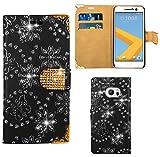 FoneExpert® HTC One M10 / HTC 10 Handy Tasche, Bling Diamant Hülle Wallet Hülle Cover Hüllen Etui Ledertasche Premium Lederhülle Schutzhülle für HTC One M10 / HTC 10