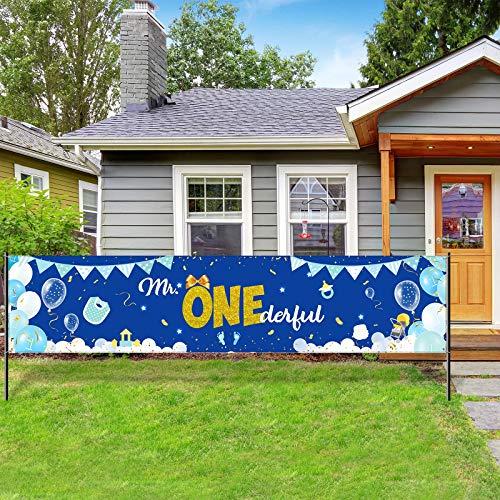 Decoarción de Bandera de Fiesta de Mr. Onederful de 1 Cumpleaños de Niño, Telón de Fondo Bandera Señal de Jardín de Azul Cabina de Fotos para Suministros de Fiesta Baby Shower