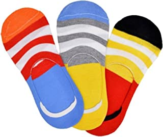 PSK EXPORTS Men's Cotton Colorful Anti Slip Loafer Socks Pack of 3 (Multicolour)