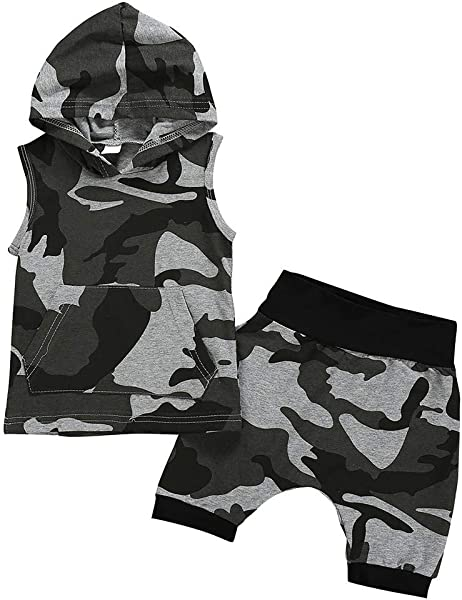 Newborn Baby Clothes Boys Girls Summer Sleeveless Camouflage Hooded Pocket Tops Vest Shorts Outfits Sets