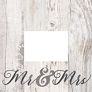 Mr & Mrs Script Design White Wash 5 x 7 Solid Pine Wood Tabletop Wall Plaque Photo Frame