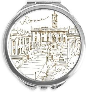 Fontana di Trevi Rome Fontana Landmark Mirror Round Portable Hand Pocket Makeup