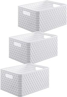 Rotho, Country, Lot de 3 boîtes de rangement 6l en rotin, Plastique (PP) sans BPA, blanc, 3 x A5/6l (28,0 x 18,5 x 12,6 cm)