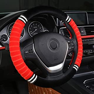 XiXiHao 2018 Accessory Universal Stretching Soft Wool Plush Fuzzy Auto Steering Wheel Cover (Red)