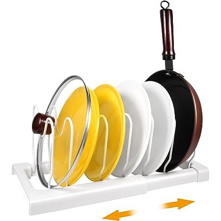 Porte-casseroles Support en Acier de haute qualité & Plastique rangement cuisine avec 7 Compartiments Réglables Parfaite pour Les Ustensiles de Cuisines Poêles, Casseroles