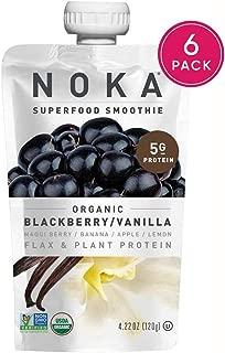 NOKA Superfood Pouches (Blackberry Vanilla) 6 Pack | 100% Organic Fruit And Veggie Smoothie Squeeze Packs | Non GMO, Gluten Free, Vegan, 5g Plant Protein | 4.2oz Each