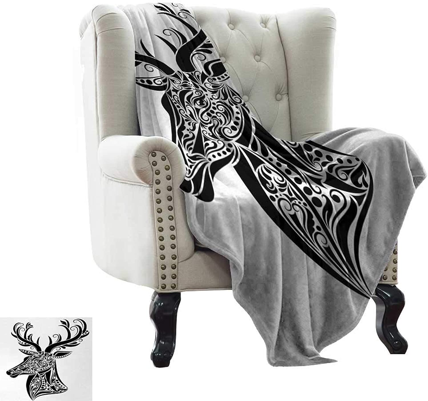 BelleAckerman Weighted Blanket for Kids Antlers,Tattoo Pattern in The Shape of a Deer Creative Portrait in Black and White colors,Black White Warm Blanket for Autumn Winter 50 x60