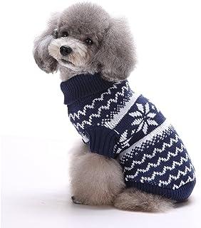 comprar comparacion Tuopuda Navidad Mascotas suéter Invierno Perro Nieve Lana del Perrito Traje Caliente Ropa de Abrigo (M, Azul Marino)