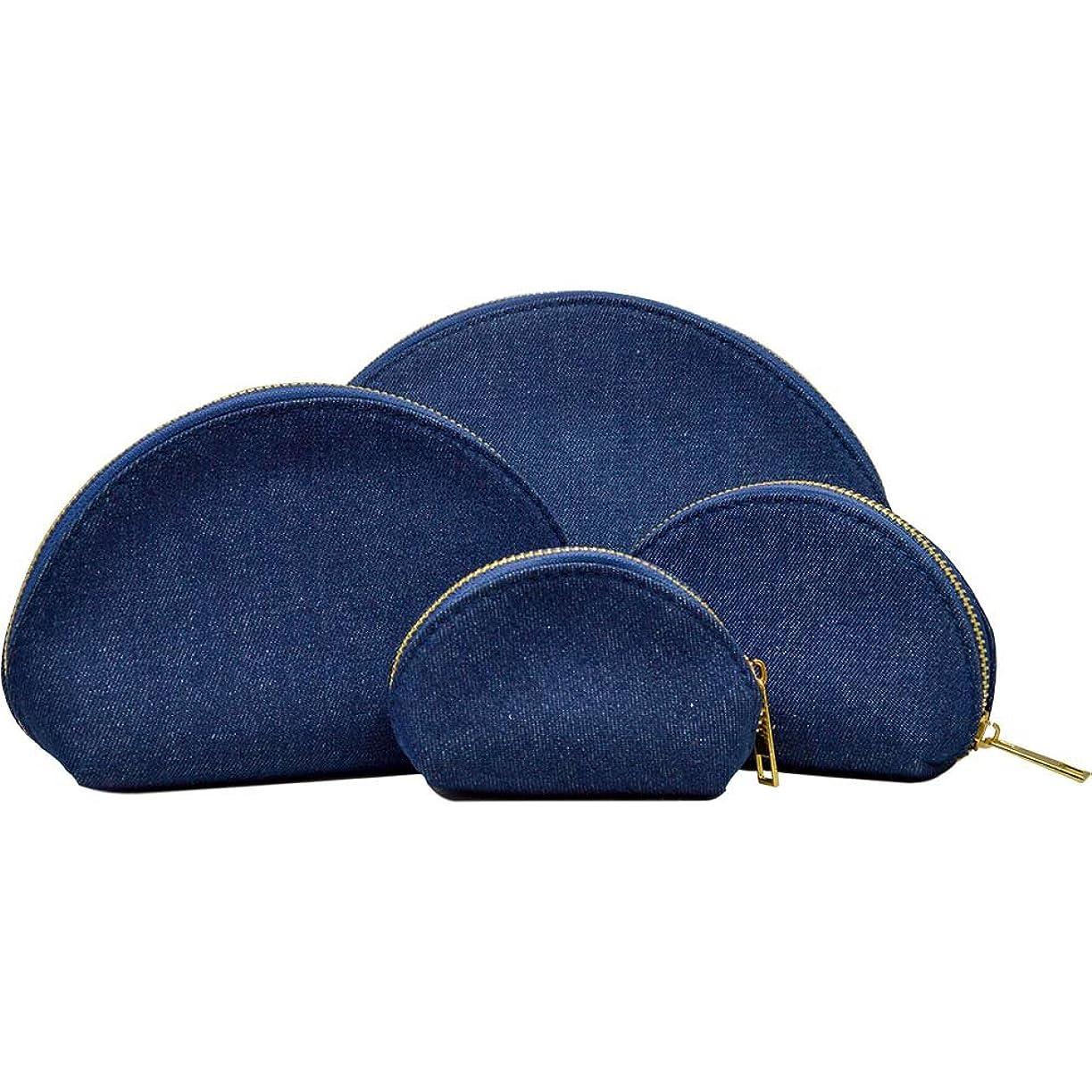 ヒープ医師に対応する豪華4点セット デニム コスメポーチ 小物ポーチ 小さい 極小 大きい 4サイズ デニムデザイン バッグINバッグ ラウンド 化粧ポーチ (インディゴブルー)