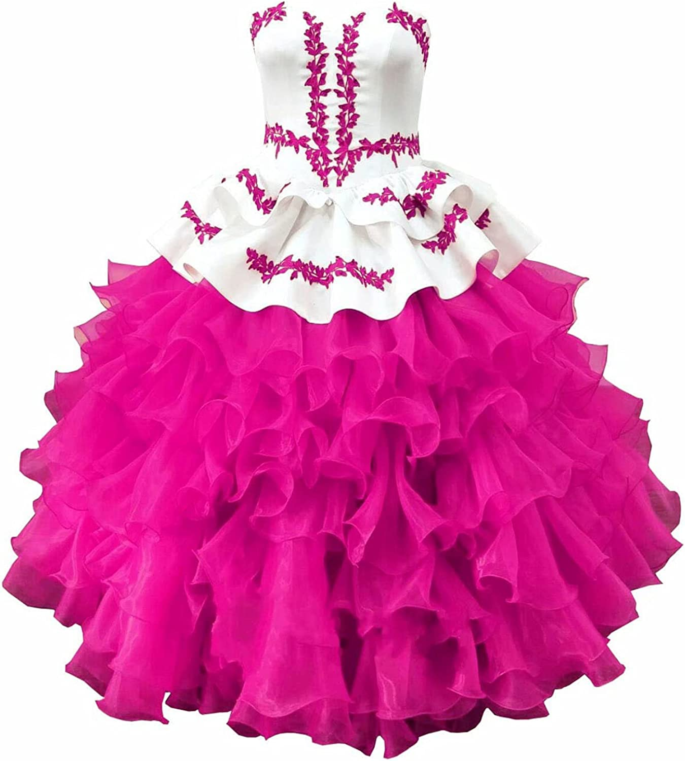 Sweetheart Ball Gown Ruffles Satin Red Embroidery Pageant Prom Formal Dresses for Little Girls Junior Corset