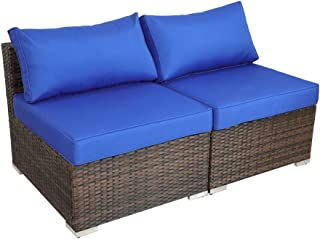 Outdoor Brown Rattan Patio Wicker Sofa Set Couch Indoor Furniture Set 2-Piece Middle Sofas