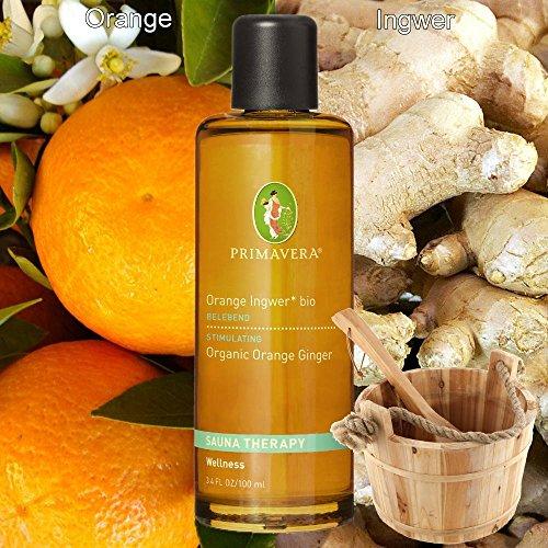 Primavera Bio-Aufgusskonzentrat Saunaduft Bioduft 100% naturreine ätherische Öle, Duft:Orange Ingwer* bio