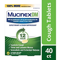 Cough Suppressant and Expectorant, Mucinex DM 12 Hr Relief Tablets, 40ct, 600 mg, Thins & loosens mu