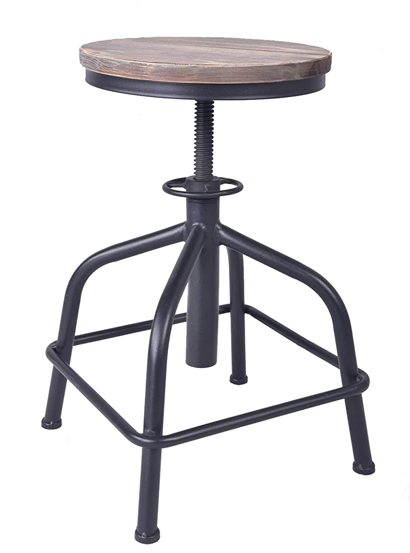 Topower American Antique Industrial Design Leather Bar Stool Round Seat Adjustable Swivel Bar Stools in Exterior House Design (Black, Wood) fouqo8737189638