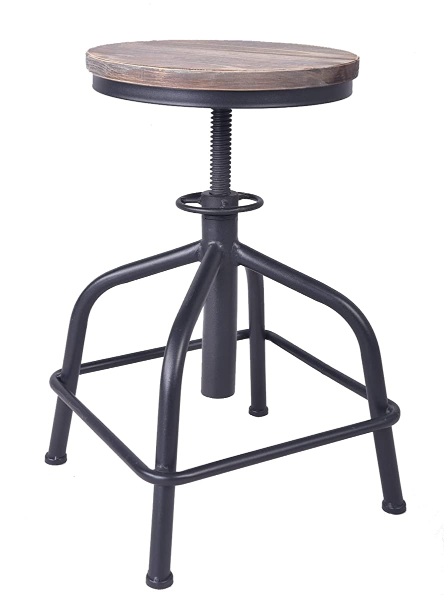 Topower American Antique Industrial Design Leather Bar Stool Round Seat Adjustable Swivel Bar Stools in Exterior House Design (Black, Wood)