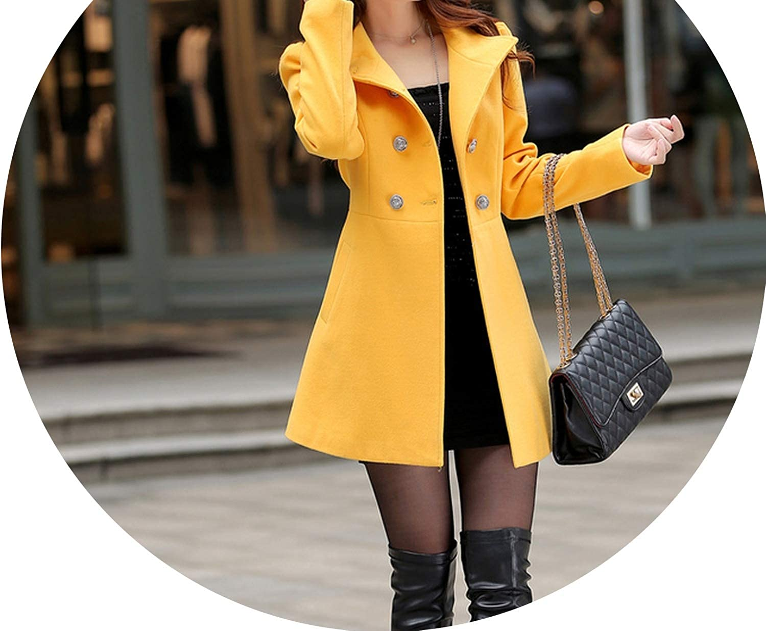 Casual Fashion Women Long Cashmer Coat Slim Long Women's Woolen Jacket Solid Single Breasted Coat and Jacket