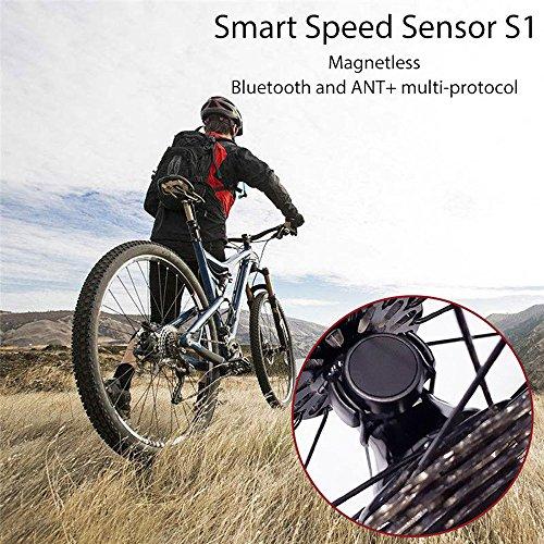 NUEVO Bike Smart Speed Sensor sunnymi Bluetooth Ant + Dual de protocolo de Smart Sensor de velocidad para Garmin Bryton IGS Cronómetro, Negro , 15 * 28 * 38mm