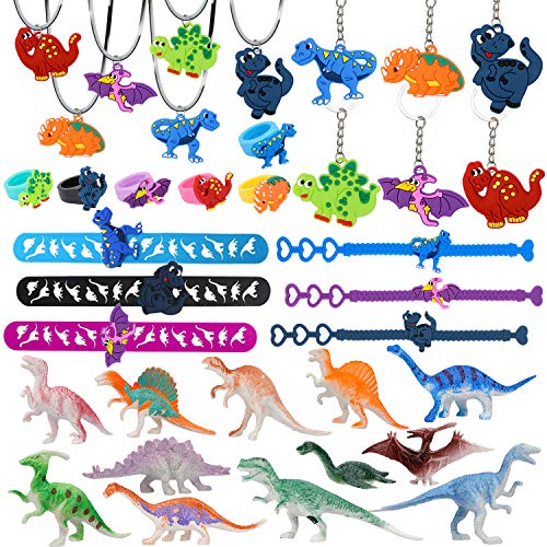 Konsait Dinosaur Party Favors for Kids, 36 Pcs Dinosaur Party Supplies Set Mini Dinosaur Toy Model/Keychains/Slap Bracelets/Necklace/Ring/Bracelets for Boys Birthday Party Decoration Gift Bag Fillers