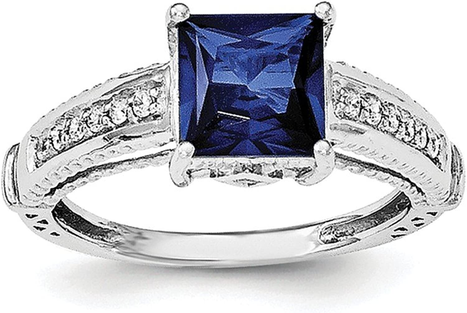925 Sterling Silver Rhodiumplated Synthetic bluee Sapphire and Cubic Zirconia Ring