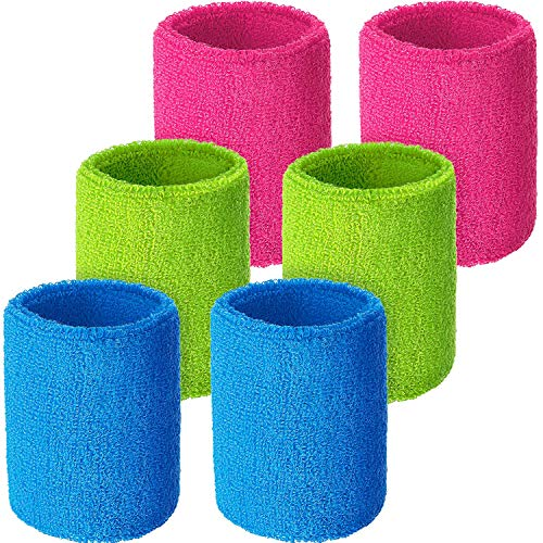 WILLBOND 6 Pieces Wrist Sweatbands Sports Wristbands for Football Basketball, Running Athletic Sports (Neon Pink, Neon Green, Sky Blue)