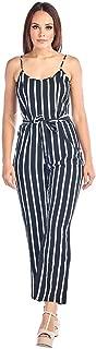 Ci Sono Women's Black and White Striped Belted Wide Leg Spaghetti Strap Jumpsuit