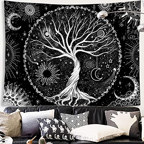 Spenlife Tree of Life Tapestry Black and White Tapestry Galaxy Space Tapestry Black Aesthetic Tapestry Wall Hanging for Bedroom (50×60 Inches)