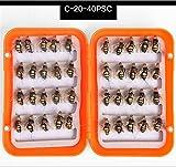 CHSEEO 40 Stück Angel-Fliegen Kunstköder Set Angel-Köder Fliegen Forellenköder Fliegen Fischen Köder Haken Perfekt zum Zander Angeln Barsch Forelle Dorsch Angelzubehör Angelset #5