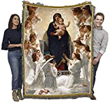 The Virgin Mary with Angels and Jesus - Cotton Woven Blanket Throw - Made in The USA (72x54)