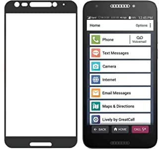 Jitterbug Smart2 Tempered Glass, Nakedcellphone [Full Size] 9H Hard Clear Screen Protector Guard [Scratch/Crack Saver] with Black Trim Border for GreatCall Jitterbug Smart2 Phone