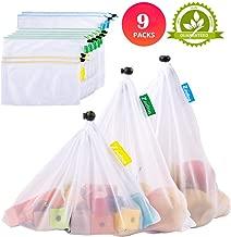 Zindoo Bolsas Compra Reutilizables Ecológicas, Alternativa al plástico, Lavable y Transpirable Bolsa de Malla para Almacenamiento Fruta Verduras Juguetes 9PCS(2S*5M*2L)
