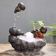 Zen Buddha Tabletop Fountains,Ceramic Making Money Feng Shui Interior Decoration for Living Room Bedroom Garden