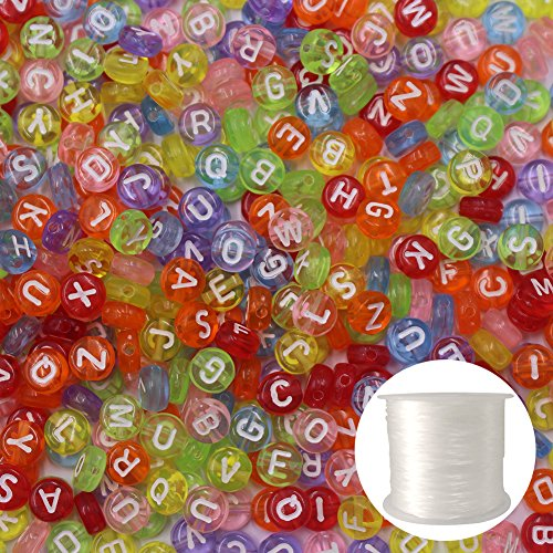 SuZhi 500 Pcs Acrylic Letter Beads Alphabet Beads for Jewelry Making and Elastic Thread 50m/roll for Kids DIY Bracelets, Necklaces, Children's Educational Toys, Handmade Gift (Clear)