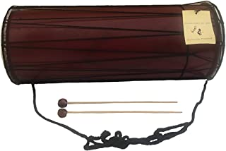 "JIVE Solid Wood Drum Dholak Djembe Drum Percussion Instrument Goat Skin Double Head PREMIUM کیفیت / صدا - اندازه بزرگ (15 ""- بزرگ)"