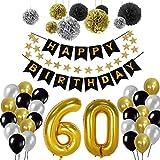 60e Kit de décorations de fête d'anniversaire, Or Nombre 60 Ballons, 30pcs Noir Argent et Or Ballon de Latex, 9pcs Papier de Soie Pompons pour 60 Ans