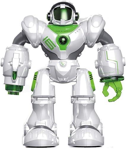 FFLSDR Elektrisches Roboterspielzeug des intelligenten Fernsteuerungsstarts der Rakete, der Schwarzn ladenden Roboter singt und Tanzt (Farbe   Weiß)