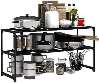 Porte-ustensiles étagères Cuisine multifonction étagère, sous Organisateurs évier, 2 Tier Extensible Maison multifonction ...