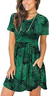 LONGYUAN Women's Long Sleeve Loose Plain Dresses Casual Short Swing Dress with Pockets