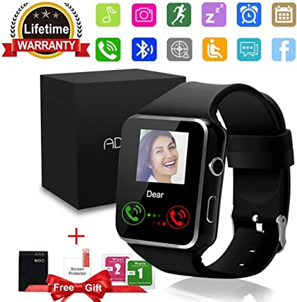 Bluetooth Smart Watch with Camera Touchscreen,Waterproof Smartwatch Unlocked Phone Watchs with SIM Card Slot, Smart Wrist Watch Compatible with Android iPhone X 8 7 6 5 Plus (X6-Smartwatches)