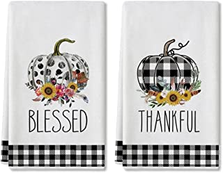 Artoid Mode Buffalo Plaid Polka Dot Pumpkin Sunflower Fall Kitchen Towels and Dish Towels, 18 x 28 Inch Harvest Thanksgivi...