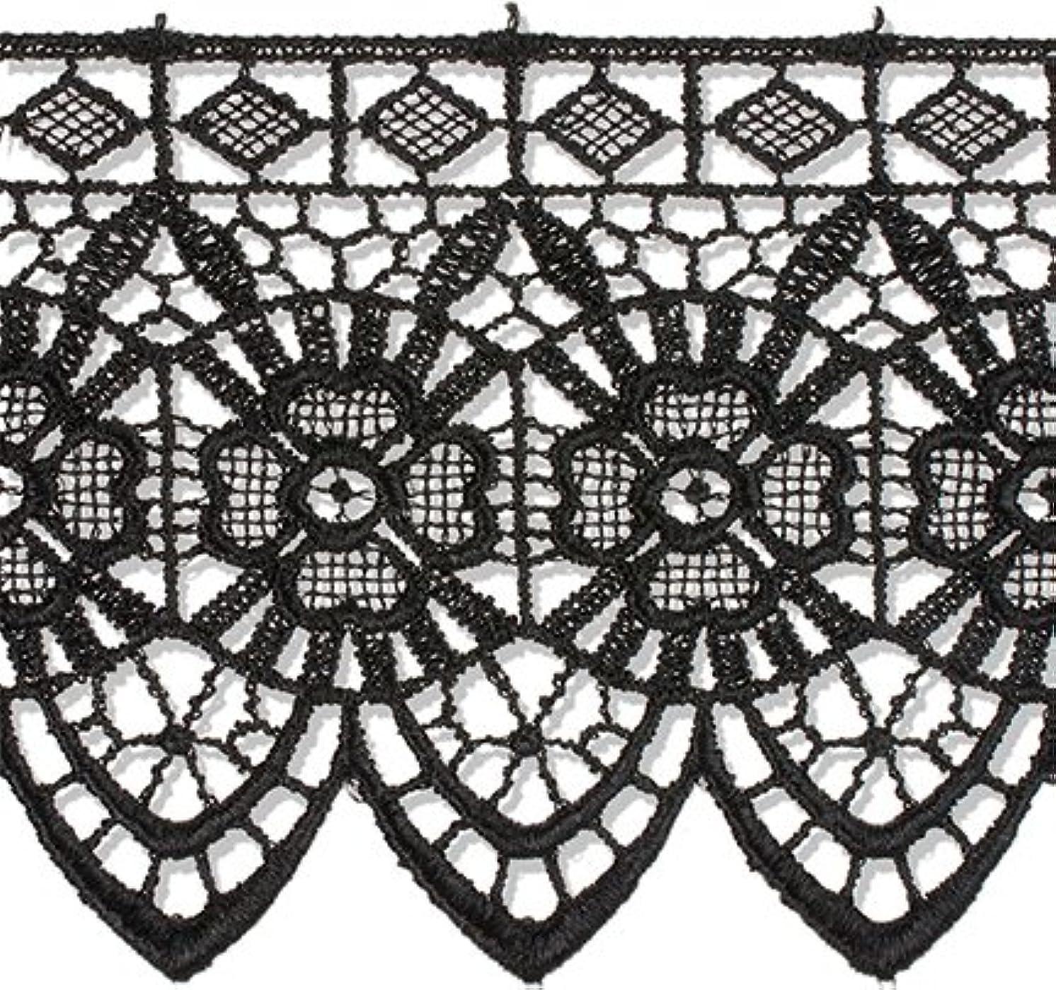 Decorative Trimmings Black Gothic Rose Edge Venice Lace Trim 3