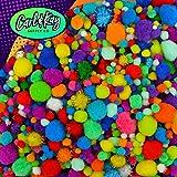 Carl & Kay [2200 pcs] Mega Assorted Size Pom Poms Craft Kit | Craft Pom Poms Assorted Sizes Bulk | Jumbo Pom Poms | Big Pompoms for Crafts | Assorted Pom Poms Craft Set | Large Pom Poms