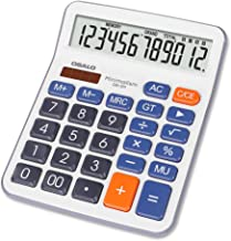J&K Ink Calculator, 12 Digit Extra Large Display Basic Calculator, Dual Power Standard Calculator, Desktop Calculator Basic Office Solar and Battery Operated Desk Calculator OS-5M (XX-Large)