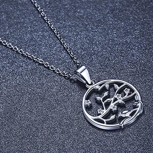 zonger Collar con Colgante de joyería de Plata para Mujer,Collar de Plata con árbol de la Vida de laSuerte,Collar de Cadena de Gargantilla de joyería