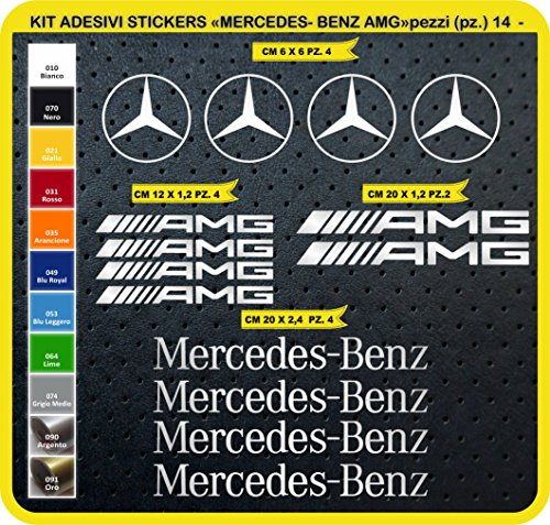 Kit Adesivi Stickers Mercedes Benz AMG - 14 Adesivi Tuning Auto- Car 0744 (090 Argento)
