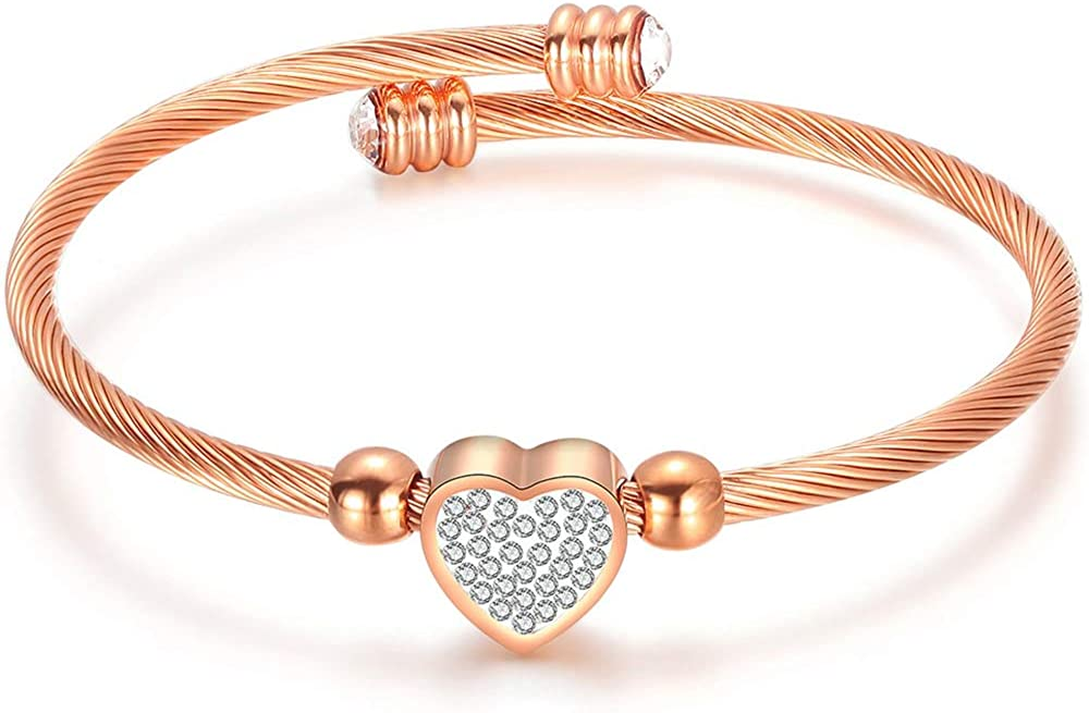 Jude Jewelers Stainless Steel Cable Wire Heart Charm Bangle Bracelet