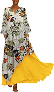 FEISI22☀Women's Printing Dress Travel Line Clothing Abstract Printing Baggy Dress Ethnic Style Print Vintage Long Skirt